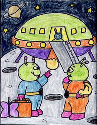 Alien Spaceship in Crayon!
