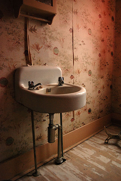 Reference photo. I decided to edit out the wallpaper to keep the focus on the old sink. I was, otherwise perhaps too true to the photograph. For accuracy, should I have included the wallpaper to keep to the history of the room? The real question is, would a make a different choice now?