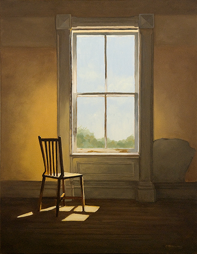 "The final painting ""Window Seat"", acrylic on canvas, 14x18"