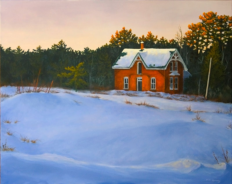 painting, remains of the day, mb hendry, ruin, house, snow