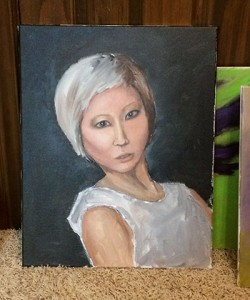 Drawn and painted in a class and a half, this is my very FIRST try at painting a portrait. The one above is number two. I hope I learned a lot in the last week!