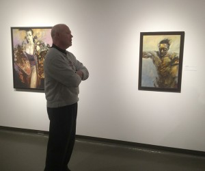 Rick Berry discussing the paintings